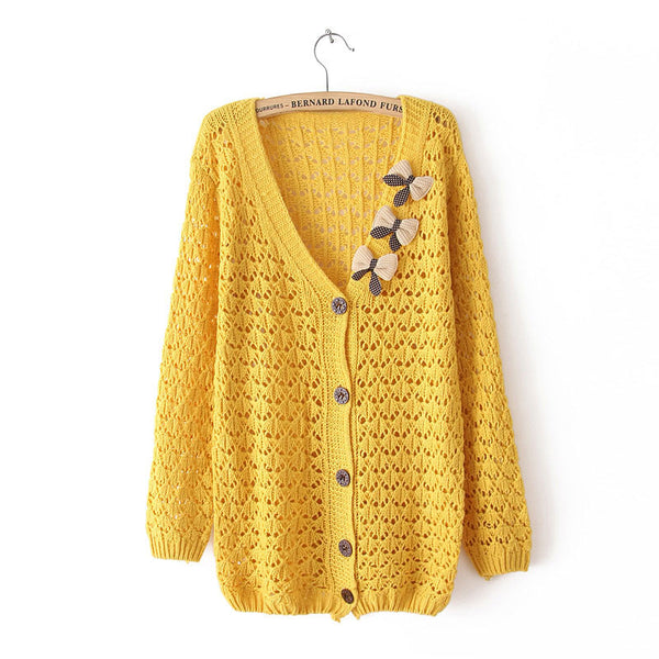Retro Latest Bowknot Pierced Slim Sweater - lilyby