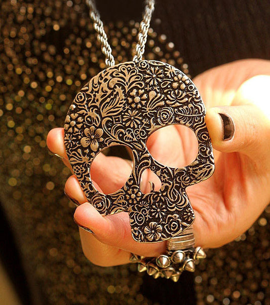Retro Punk Skull  Printed Pendant& Sweater Necklace - lilyby