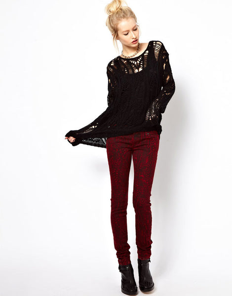 Retro Pierced Irregular knit &Cardigan