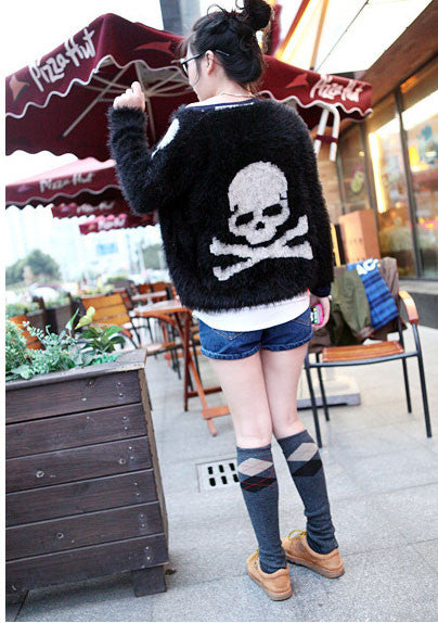 Unique Personality Cool Skull Sweater &Cardigan