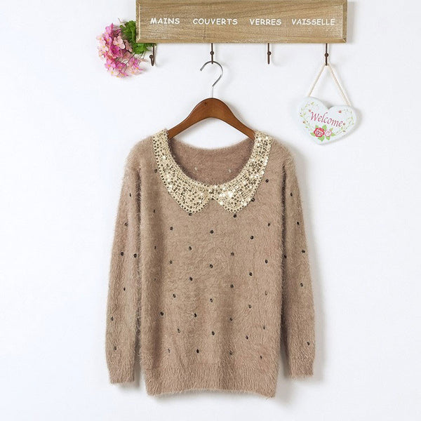 Pretty Sequined Velvet  Long-Sleeve Sweater&Cardigan - lilyby