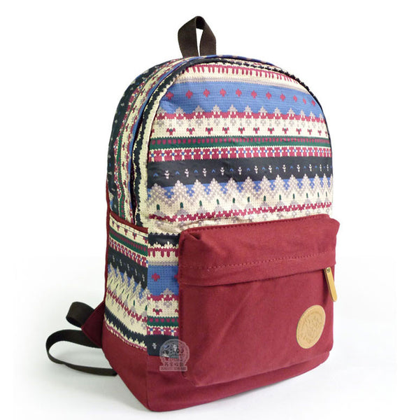 Retro Snowflake Geometry Canvas College Backpack