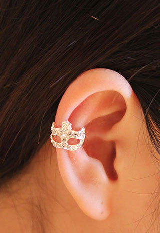 Cool Rhinestone Masque Single Earrings Clip - lilyby