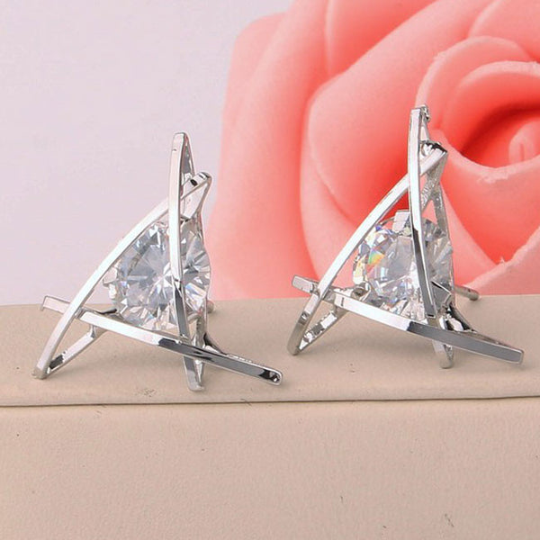 Fashion Unique Tic Tac Toe Triangle Zircon Earrings Studs