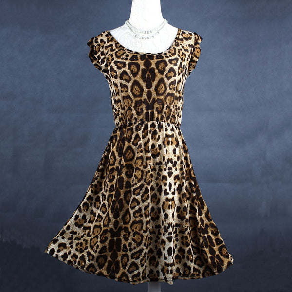 Casual Sleeveless Leopard Chiffon Dress - lilyby