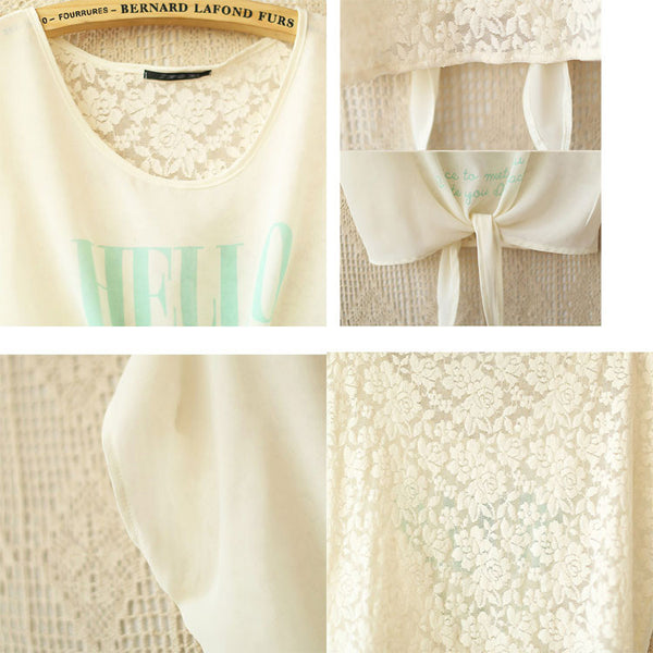 Unique Letter Printed  Lace Crochet Bowknot Chiffon Shirt