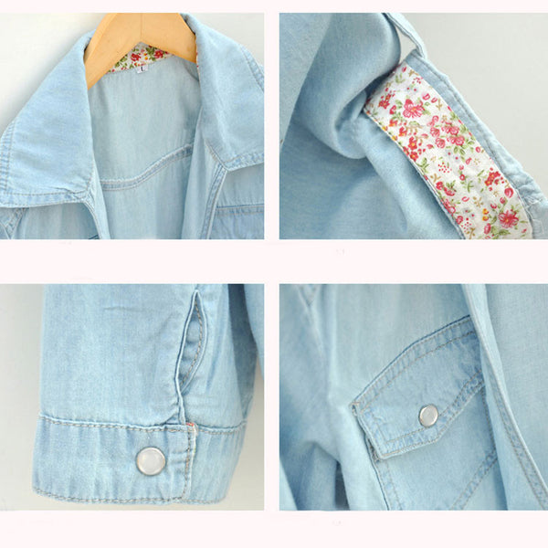 Latest Floral Washed Denim Half Sleeve Shirt - lilyby