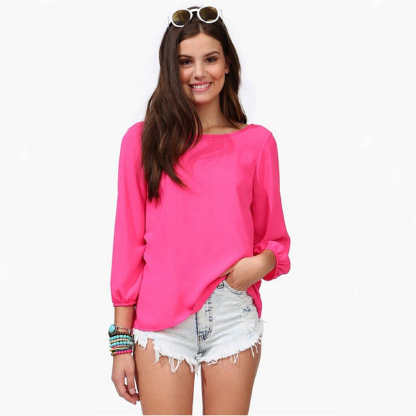 Pretty Nice Pink Big Bowknot Halter Chiffon Blouse - lilyby