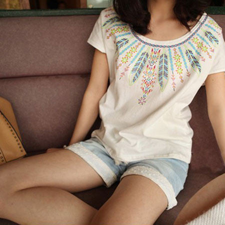 Bohemian Fashion Feather Printed Cotton T-shirt - lilyby