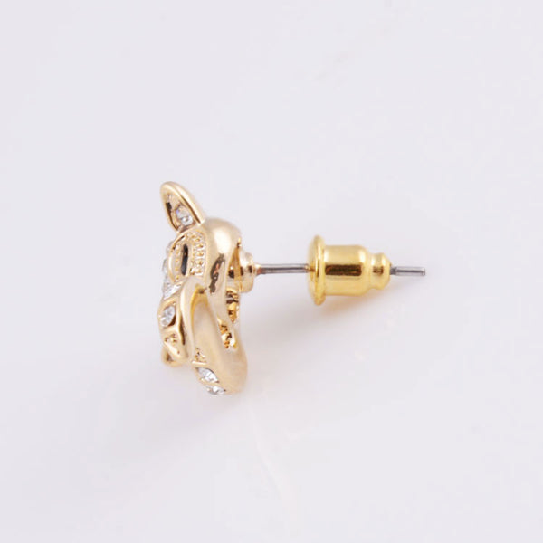 New Cute Golden Fox Rhinestones Earrings - lilyby