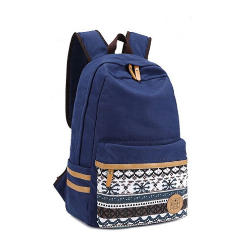 Folk Fashion Pure Irregular Printed Geometry Canvas Backpack - lilyby