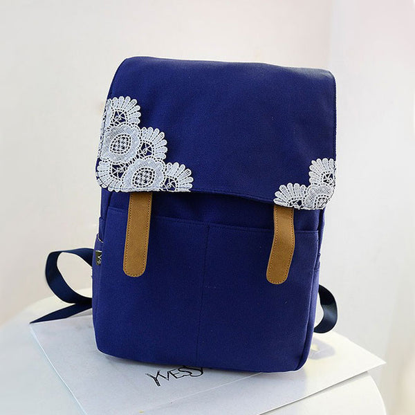 Pretty Crochet Lace Pure Color Canvas Backpacks - lilyby