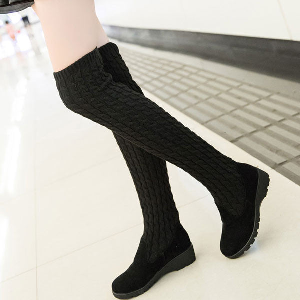 Unique Knitted Sweater High Winter Boots