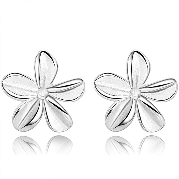 Cute Pure Flower Silver Women Earrings Studs
