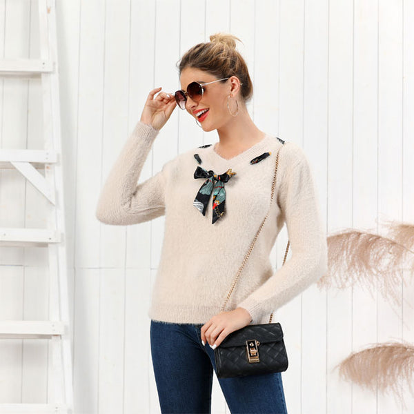 Leisure Knit V-neck Bow Pure Color Fluff Slim Women Sweater Bottoming Long-Sleeve Cardigan