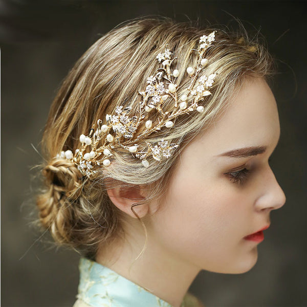 Cute Bridal Hair Accessories Tree Branch Leaves Pearl Wedding Hair Band Hair Accessories