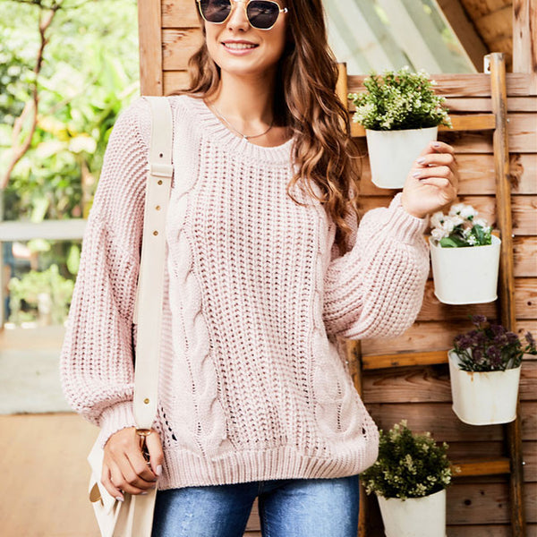 Leisure Round Neck Sweater Long Sleeve Openwork Knitting Twist Women Sweater
