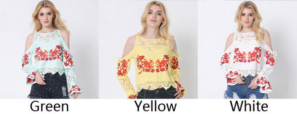 Embroidery Long Sleeve Tee Lace Splice Loose Shirt Blouse Ladies Tops