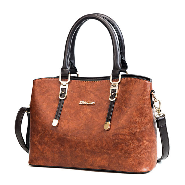 Retro British Style Lady Handbag PU Shoulder Bag