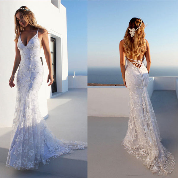 Elegant Long Skirt Sexy Prom Backless Lace Wedding Dress V-neck Strap Party Dress