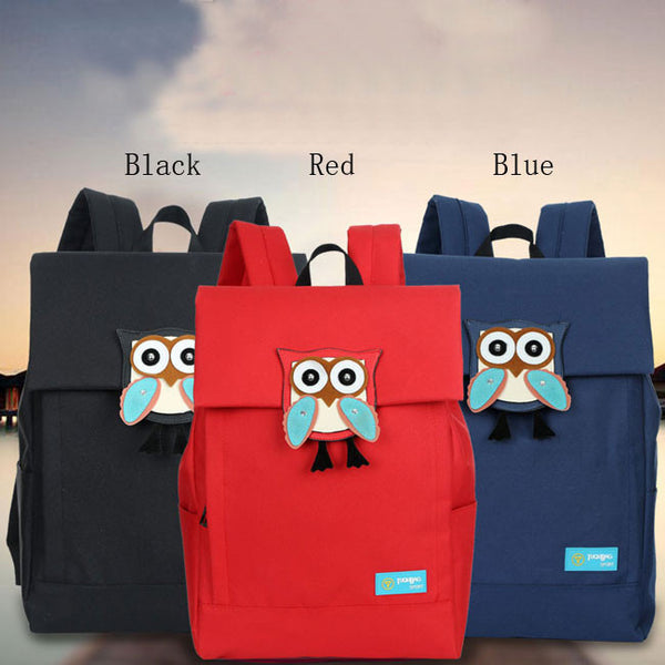 Cute Owl Waterproof School Rucksack Leisure Solid Travel Canvas Backpacks