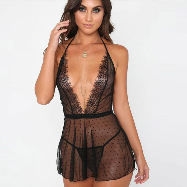 Sexy Perspective Mesh Dot V Sling Nightdress Lace Women Lingerie