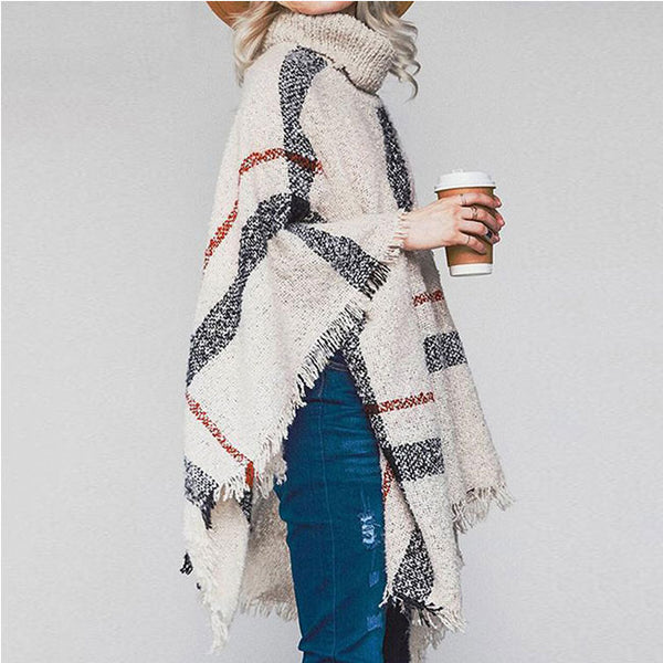 Leisure Knitting Medium Long Tassel Cloak Shawl Loose High Collar Large Sweater