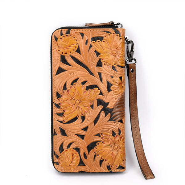 Retro Leather Carving Cowhide Relief Large Yellow Flower Bird Embossing Clutch Bag Men's wallet