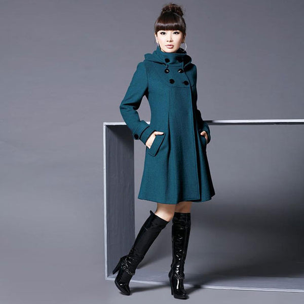 Fashion Long Cloak Shawl Large Slim Double Button Woolen Windbreaker Women Coat