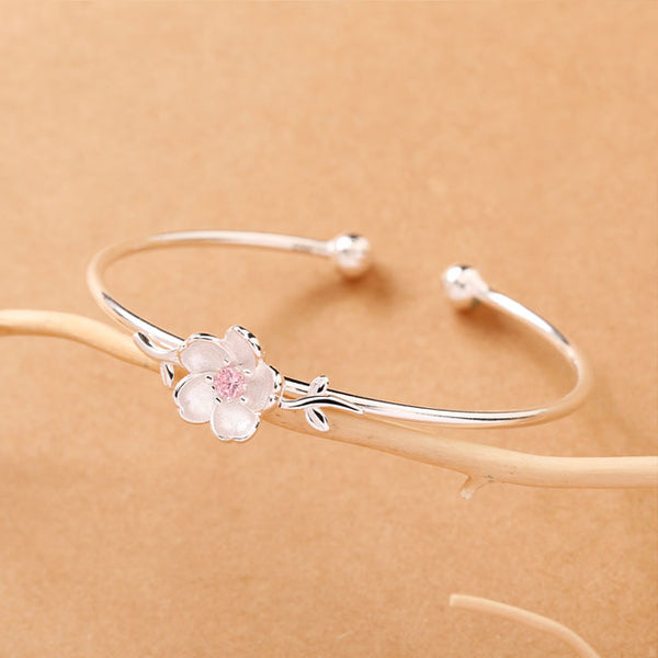 Cute Leaves Cherry Silver Bracelet Valentine's Day Present Women Flower Open Bracelet