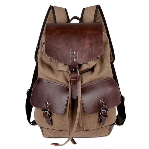 Leisure Two Pockets Outside Leather Camping Canvas Rucksack Large Capacity Outdoor Travel Backpack