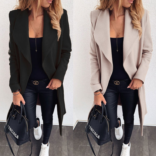 Fashion Solid Color Lapel Mid-length Bandage Woolen Cloth Overcoat Windbreaker Coat