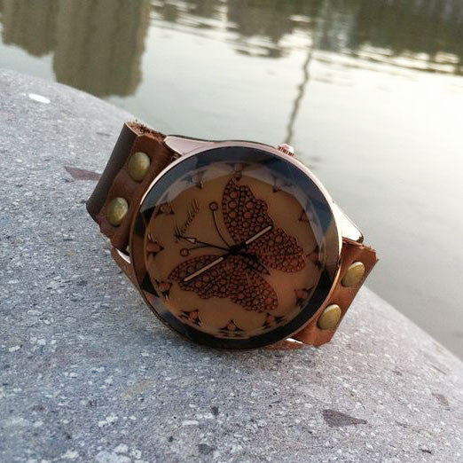 Retro Graceful Butterfly Leather Watch