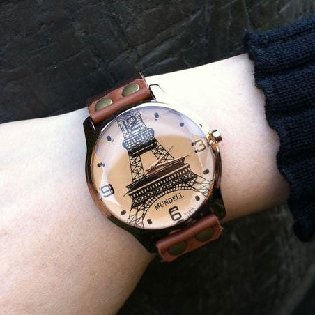 Retro Eiffel Tower Brown Leather Watch - lilyby