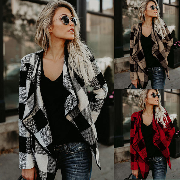 Casual Plaid Lapels Woolen Lattice Women's Jacket Coat