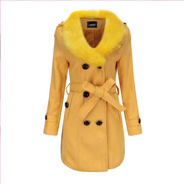 Fashion Hairy Fur Collar Double Button High Collar Winter Warm Women Coat