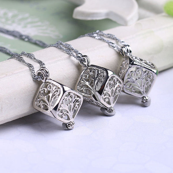 Cute Luminous Hollow Cubic Clavicle Chain Wishing Tree Night Stone Pendant Necklace