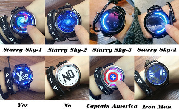 Fashion LED Light Touch-screen Control Dial Starry Sky Captain America Iron Man Couple Watch