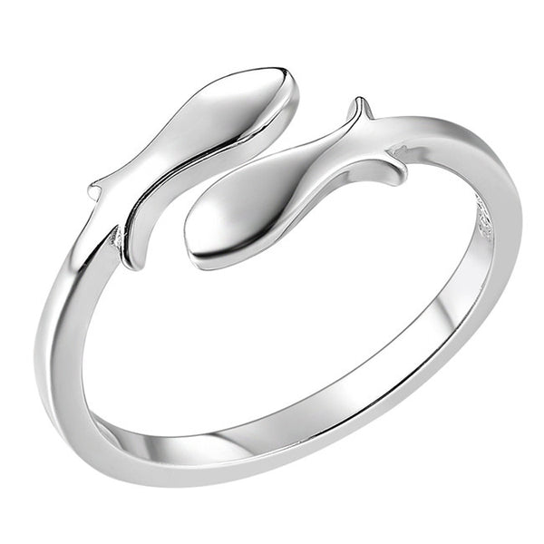 Cute Constellation Pisces Silver Fishes Finishing Polish Open Rings