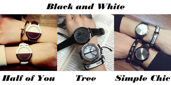 Cool LED Light Touch-screen Control Dial Waterproof Black White Life Tree Simple Watch