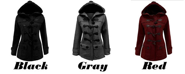 Fashion Fall Winter Long-style Horn Button Wool Hooded Silm Coat Trench Women's Coat
