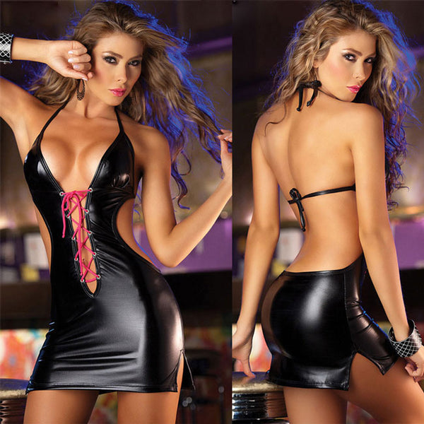 Sexy Halter Backless Front Cross-strap Patent Pole Dance Sleepwear Women's Cosplay Leather Lingerie