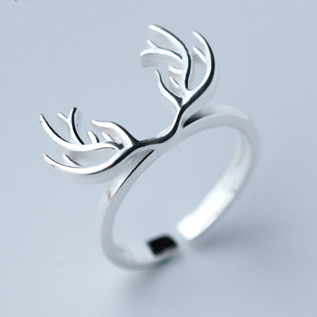Cute Solid Deer Horn Silver Pure Plain Hollow Open Ring