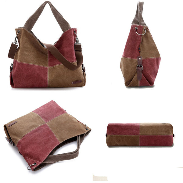 Retro Splicing Square Contrast Color Blocking Large Capacity Canvas Shoulder Bag Girl's Handbag