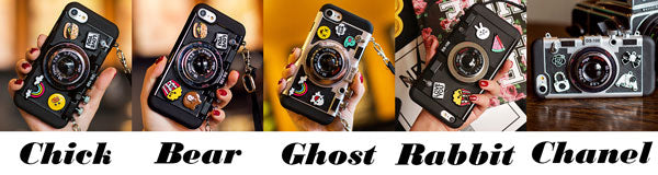 Creative Cartoon Camera Shape Stereo Rabbit Bear Chick Ghost Chanel Phone Case Iphone 6/6 plus/6s/6s plus/7/7 plus/8/8 plus/X Case