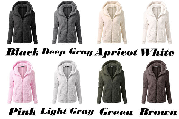New Women's Winter Lambswool Zipper Outwear Hoodies Plus Size Ladies Pullover Warm Hooded Sweatshirt