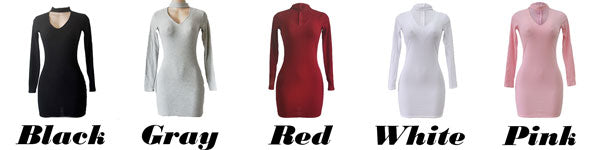 Sexy Women's Whole Color Choker V-neck Long Sleeves Package Hip Skirt Dress