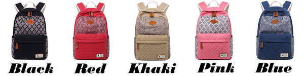 Fresh Girl's Contrast Color Rhombus Student School Rucksack Lattice Thick Canvas Backpack