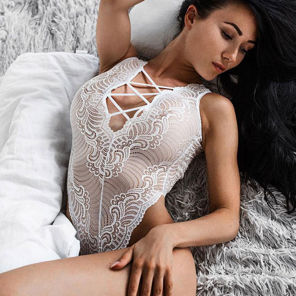 Sexy Women's White Lace Mesh Hollowed-out Embroidery Front And Back Crossover Straps Jumpsuits Lingerie