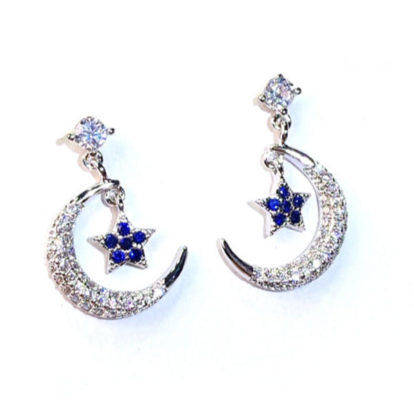 Fashion Women's Ear Clips Stars Moon Sterling Silver Earrings Studs